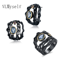 Beautiful trendy earrings and ring hollow designer black plate pave oval blue and purple crystal zircon female Jewelry sets