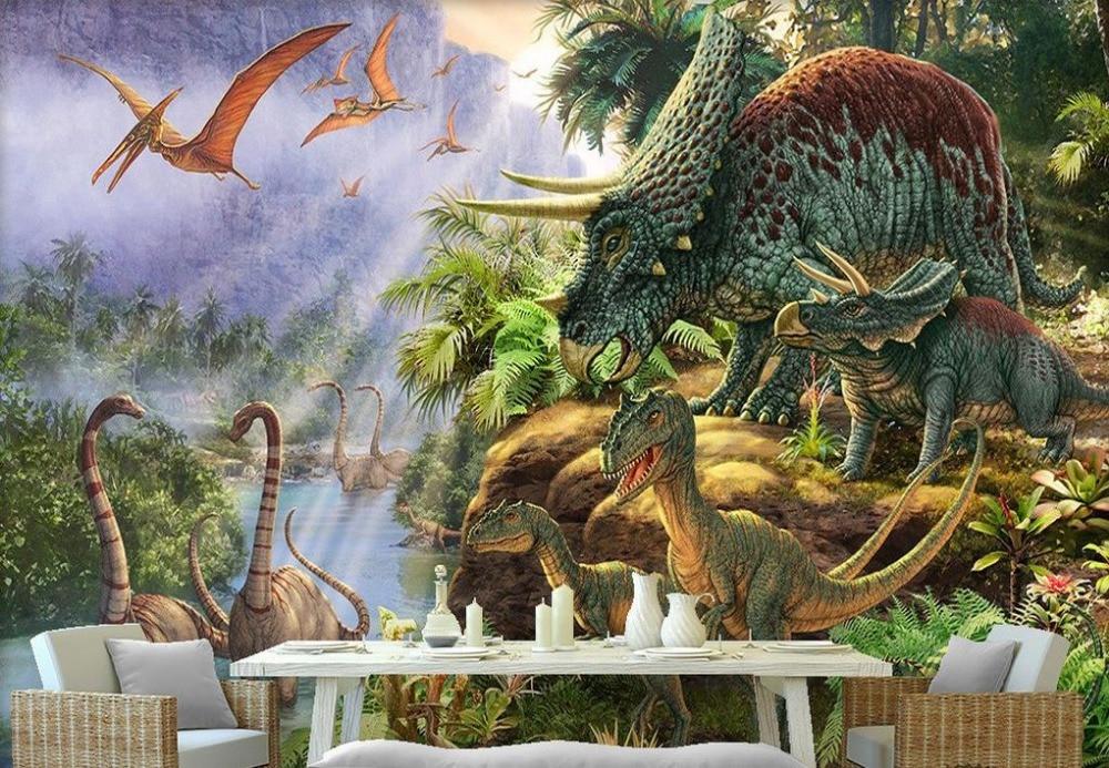 Customized 3d wallpaper walls cartoon forests dinosaurs 3d for Dinosaur mural wallpaper