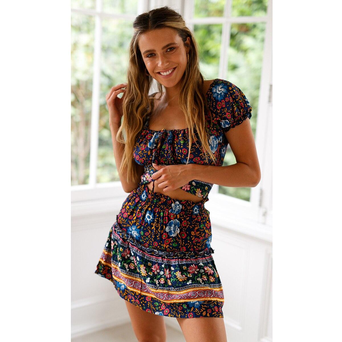 a4b80a0bdad4 Navy Floral Printed Crop Top Skirt Set 2019 Summer Women Short Sleeve Mini  Dress Set Suit Boho Sexy Beach 2 Two Piece Sets