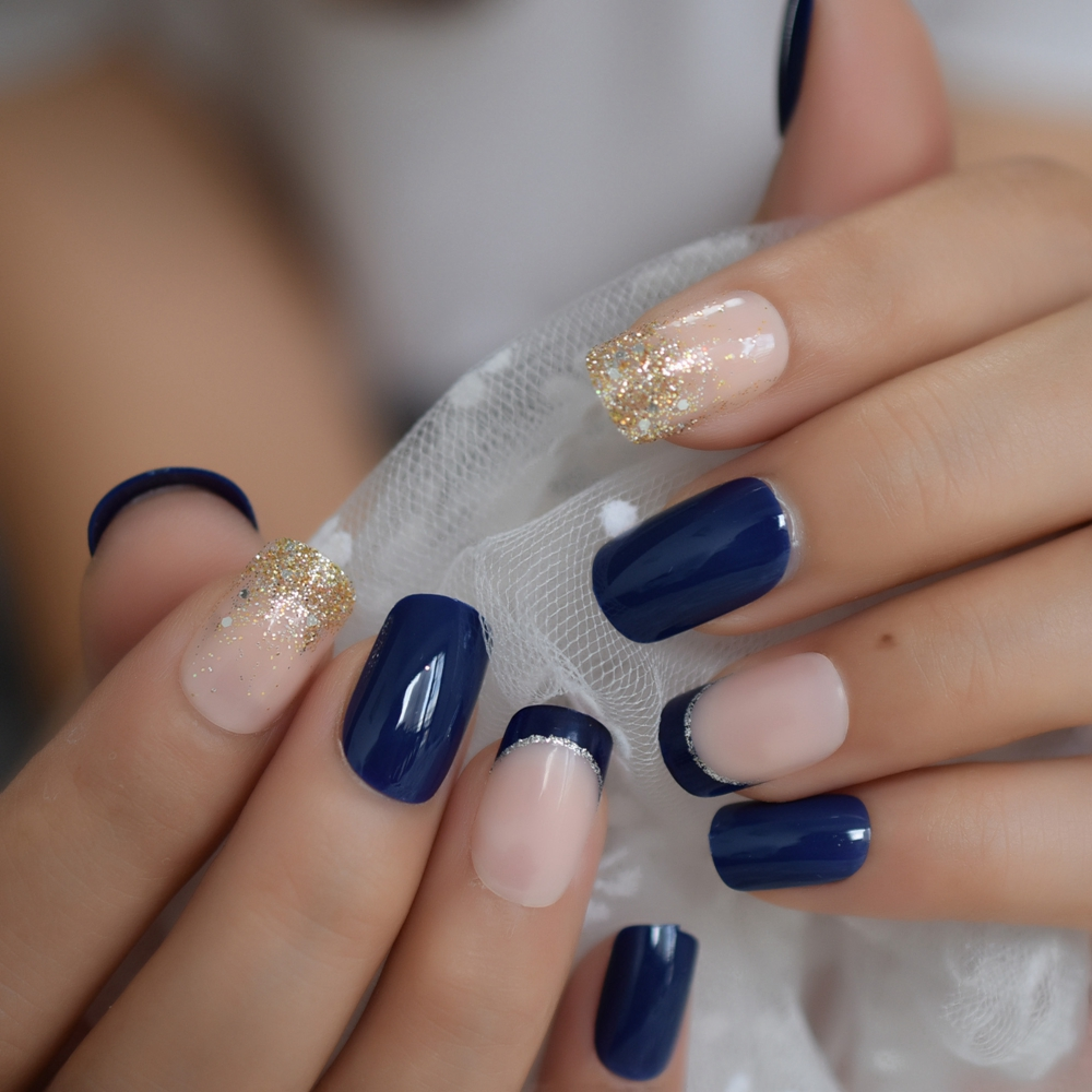 Glossy Blue French Nail Mix Glitter Medium Natural Press On Fingernails Pre-designed Acrylic Manicure Tips With Gluetabs
