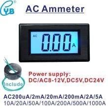 Yb5135d amperímetro ac e medidor de corrente ct, ac 200ua 2ma 20ma 200ma 2a 5a 10a 20a 50a 100a 200a 500a amperímetro digital lcd 1000a, medidor
