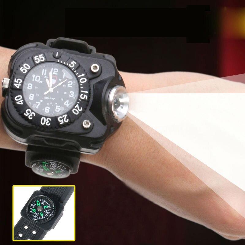 bilder für Im freien Wasserdichte Kompass LED Uhr lampe Nacht Laufen Wandern Camping Eingebaute Batterie Wiederaufladbare Armbanduhr Taschenlampe
