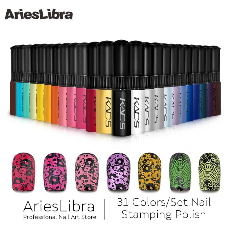 AriesLibra 31PCS Nail Art Stamping Polish Set Nail Stamping Vanish Lacquer for Template Stamping Nail Art Manicure Tool 8 pcs nail art sponges stamping polish template transfer manicure diy tool