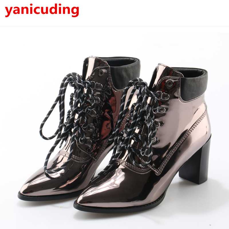 yanicuding Pointed Toe Lace Up Ankle Boot Metallic Color British Style Super Star Runway Stage Shoe Luxury Brand High Block Heel цена 2017