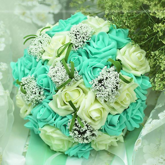 Elegante verde hecho a mano ramo de novia de la boda accesorios de la decoración del buque de noiva ramos de noiva artificial flores de la boda