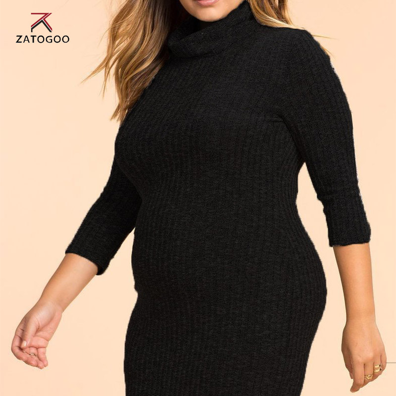 ZATOGOO Women Casual Knitted Plus Size Dress Women Dress Long ...
