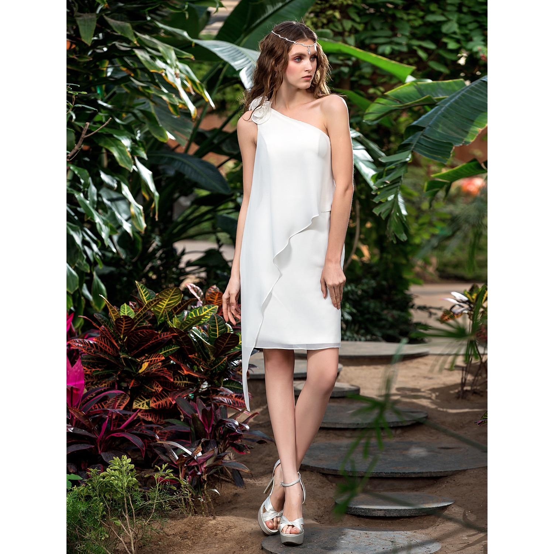 LAN Ting невесты пляж свадебное платье с открытой спиной на одно плечо без рукавов шифоновое свадебное платье с цветком Vestido De Noiva