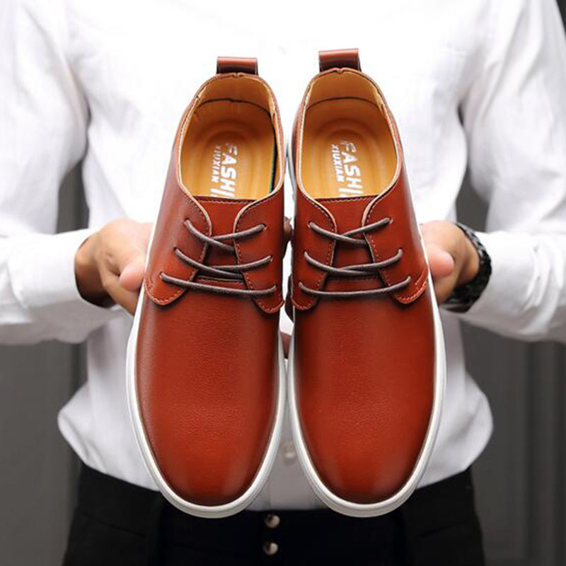 Men Genuine Leather Round Toe Casual Basic Shoes Breathable Comfortable Massage Waterproof Candy Color Leather Shoes Size 38 48 in Men 39 s Casual Shoes from Shoes