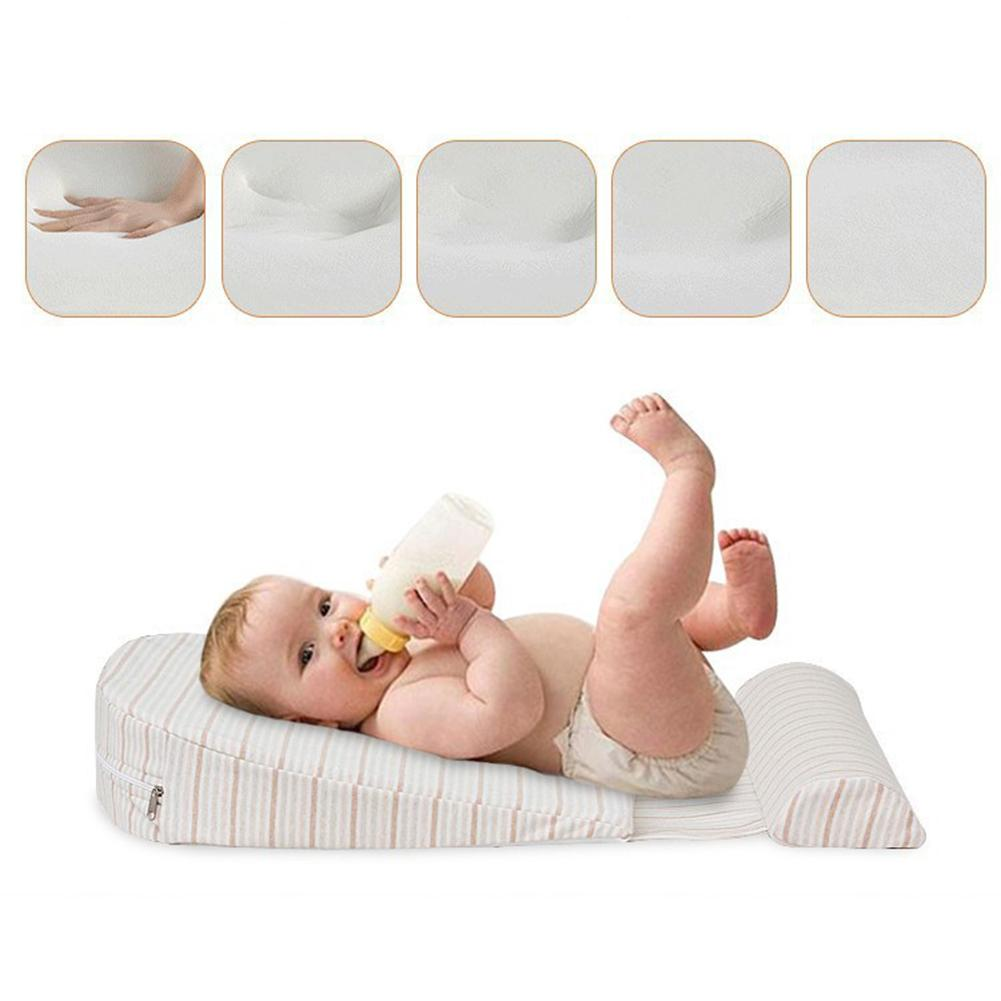 Baby Pillow Feeding Crib Wedge Pillow Waterproof Layer Cotton Pad Removable Cover 15-degree Incline Baby Newborn Sleeping Pillow