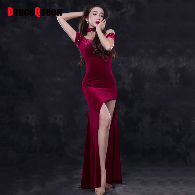 165aea43a61c 2018 Sexy Lady Belly Dancing Dress For Women 3Pcs(Dress Necklace Leggings)  Velvet Professional Performance Bollywood India Show