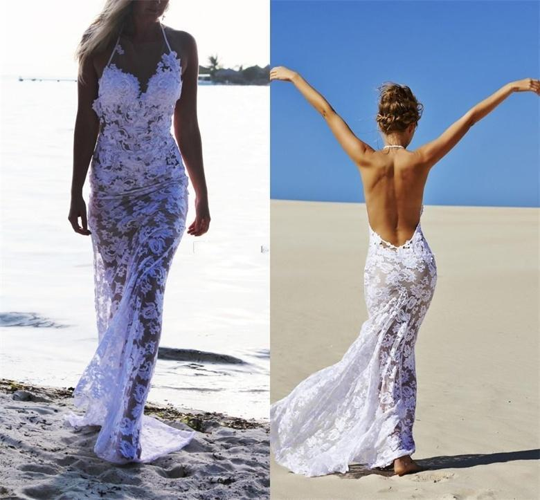 Buy halter see through sexy beach wedding for Buy beach wedding dress