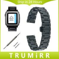 Tempo faixa de relógio 22mm quick release para pebble aço/asus zenwatch 1 2 lg g watch w100/w110/w150 pulseira de aço inoxidável strap