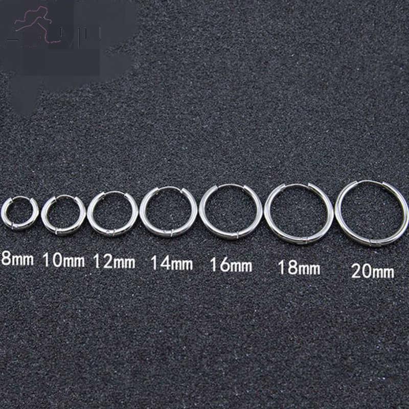 AOMU 1 คู่ขนาดเล็ก Hoop ต่างหูสแตนเลสสตีลวงกลม Hoop ต่างหูผู้หญิงผู้ชายแหวนหูคลิป Huggie ต่างหู 10-20 มม.