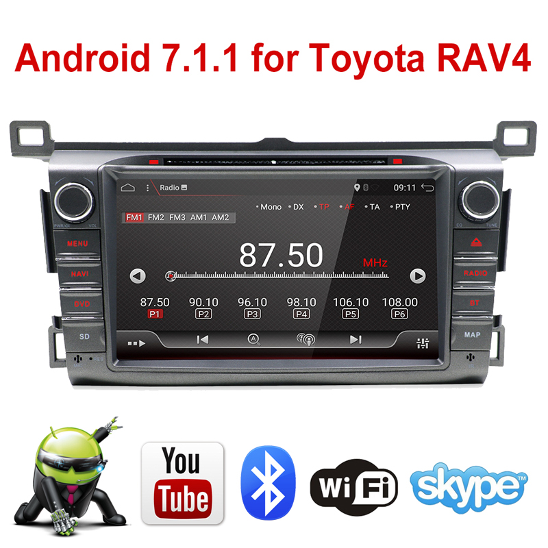 цена на 8 32GB ROM Quad Core WIFI Android 7.1.1 2GB RAM GPS Car Radio Stereo 4G DVD MP3 Player For Toyota RAV4 2013 2014 2015 2016 2017