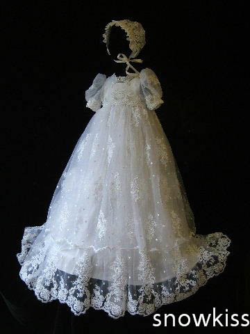 2016 Appliques Lace Beaded Baby Girl White/Ivory A-line First Communion Dresses Christening Gown Baptism Dress with bonnet
