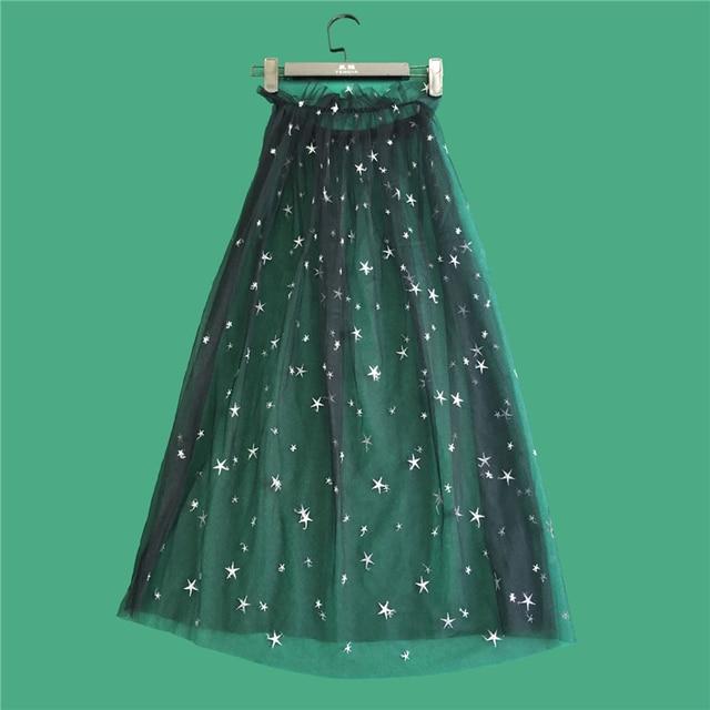 7a6f33963a Women Summer Star Embroidery Print Mesh Long Skirt Ladies Elegant Casual  Sexy High Waist Lace Transparent Black Blue Midi Skirts