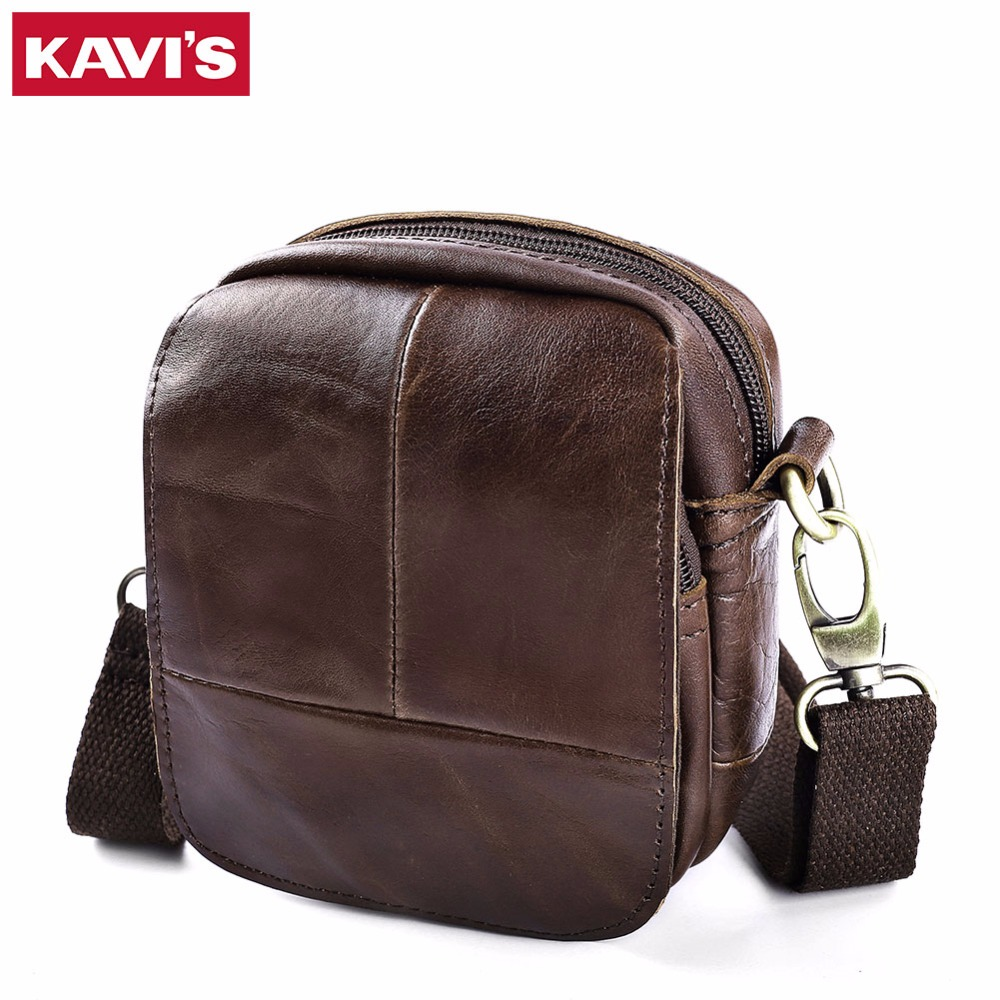 KAVIS 100% Cowhide Genuine Leather Messenger Bag Original Crossbody Handbag Men Shoulder Bolsas Sling Chest Small Mini Male kavis 100