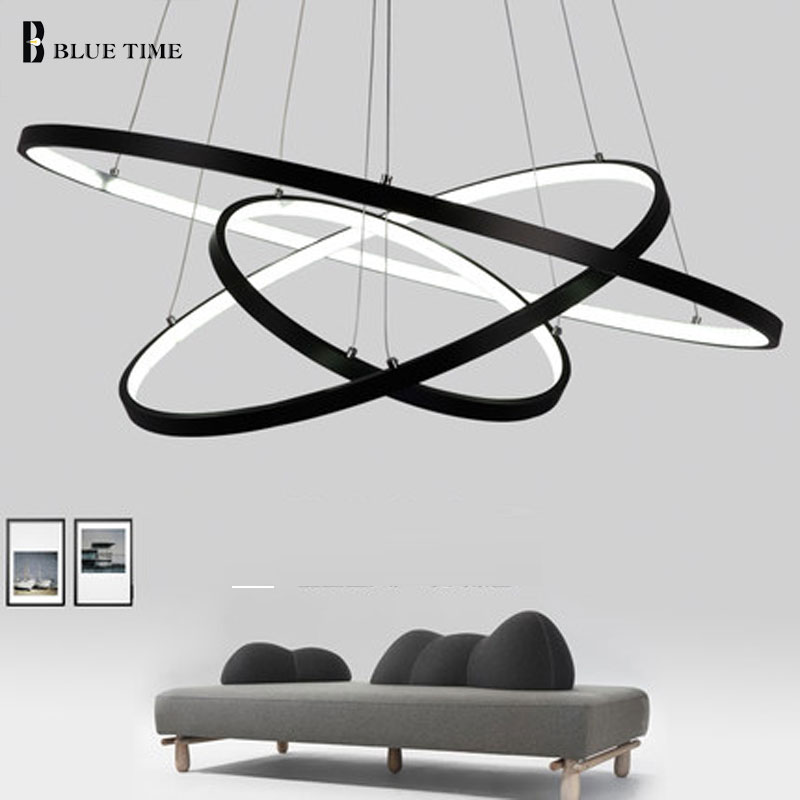 Glod Black White Color Modern pendant lights for living room dining room 4/3/2/1 Circle Rings LED Lighting ceiling Lamp fixtures modern guard dining room pendant lights white black golden silver lamp