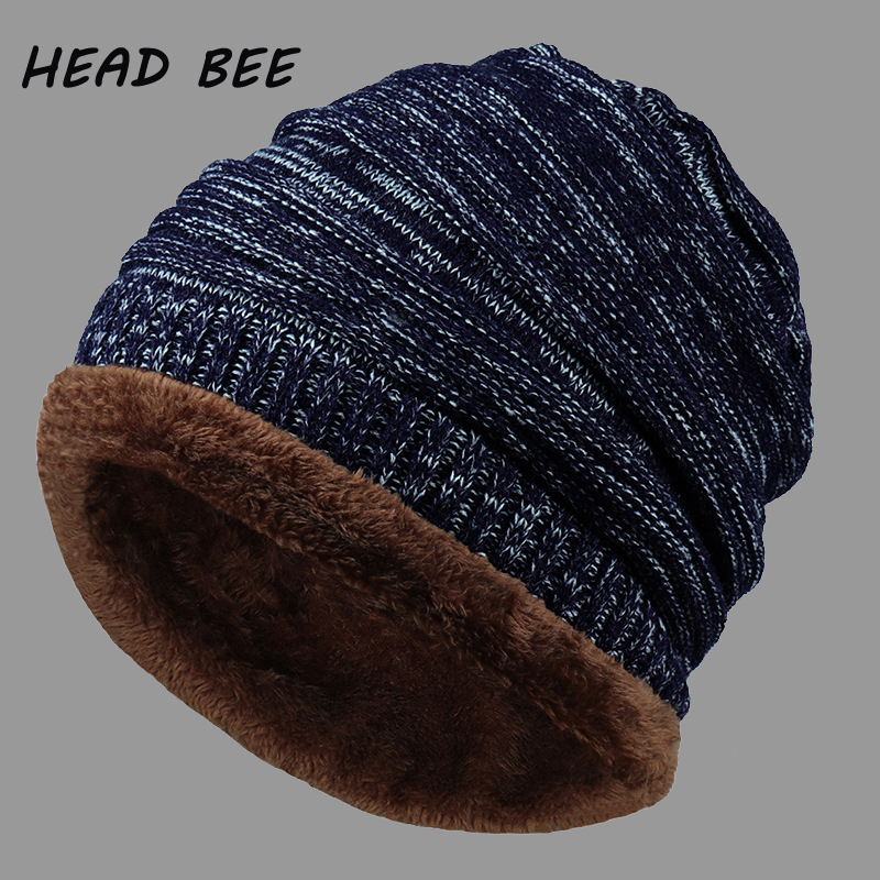 [HEAD BEE] New Knitted Hat Adult Cotton Warm Winter Cap 2017 Thicken Beanies Hat Men Stripe Bonnet Hat Skullies Balaclava Women animal printing new plus side men and women with the double layer of warm ladies pile heap cap skullies hat knitted hat stripe
