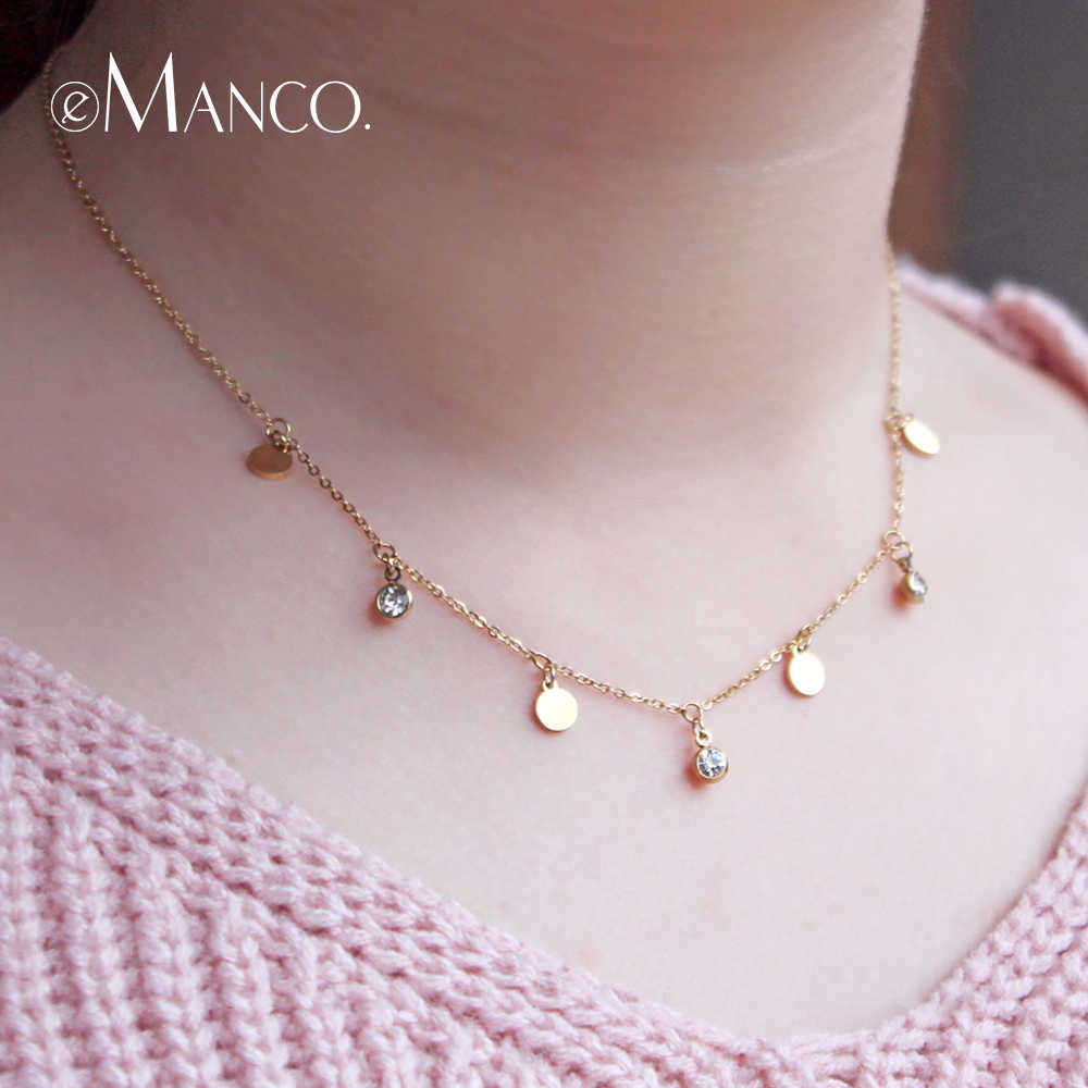 eManco Stainless Steel Jewelry Femme Rose Gold Color Link Chain Necklace With Cute Pendants Simple Brand Design Fashion Jewelry