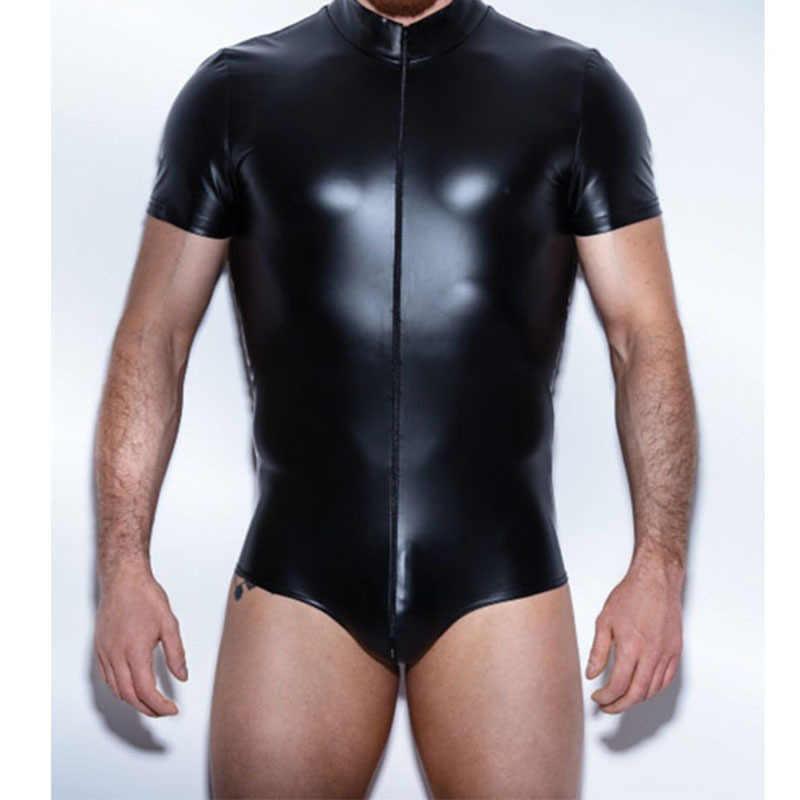AIIOU Sexy Männer Faux Leder Schwarz Zipper Lustige Body Homosexuell Sissy Dance Club Tragen Glatt Kostüm Unterhemden für Männer Bodysuit