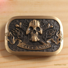 High Quality Antique Finish Retro Men's 100% Solid Brass Copper Metal Belt Buckle for Men,Vintage,Skull Heads