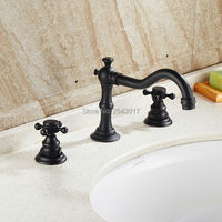 High Quality Bathroom 3 Pcs Faucet Hot And Cold Deck Mounted Dual Handle Black Bronze Finish