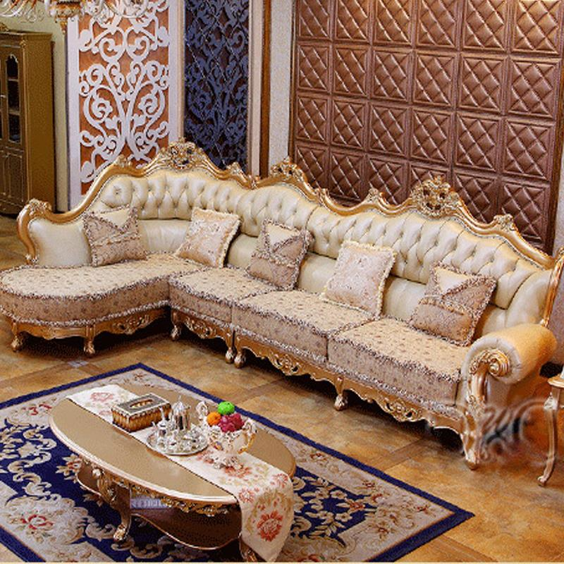 Luxury champagne leather corner sofa wood carving upscale for Luxury living room sofa