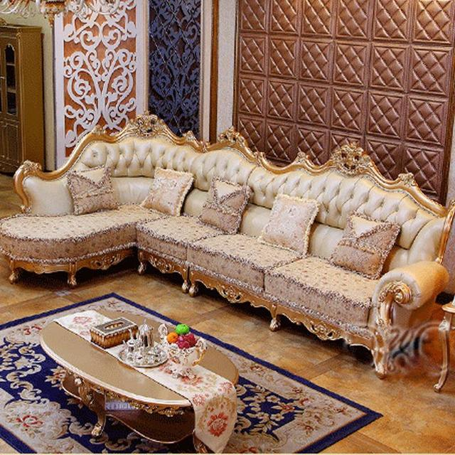 Fine Living Room Furniture: Luxury Champagne Leather Corner Sofa Wood Carving Upscale