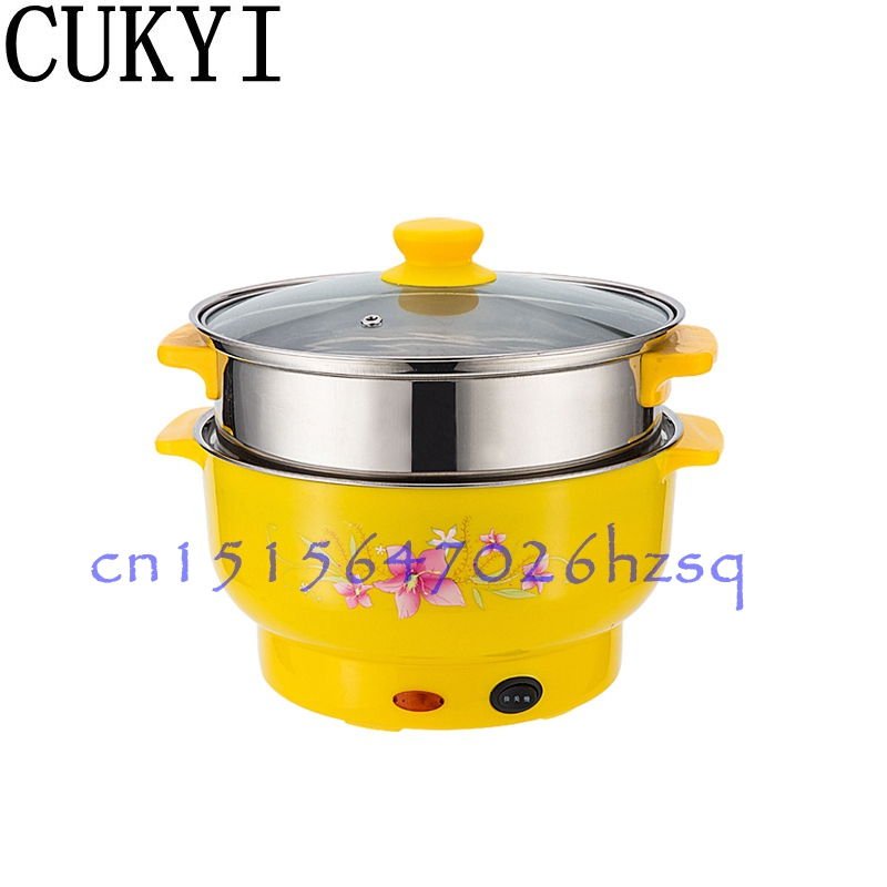 CUKYI Small power electric cooker Mini Hot pot multi-function electric cooker pot dormitory skillet pot noodle pot room free shipping stainless steel mug dormitory pot multi function noodles pan electric skillet