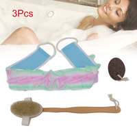 2018 3 Pcs Shower Bath Set Exfoliating Body Brush Puff Wash Sponge Scrub Grinding Stone Back Scrubber