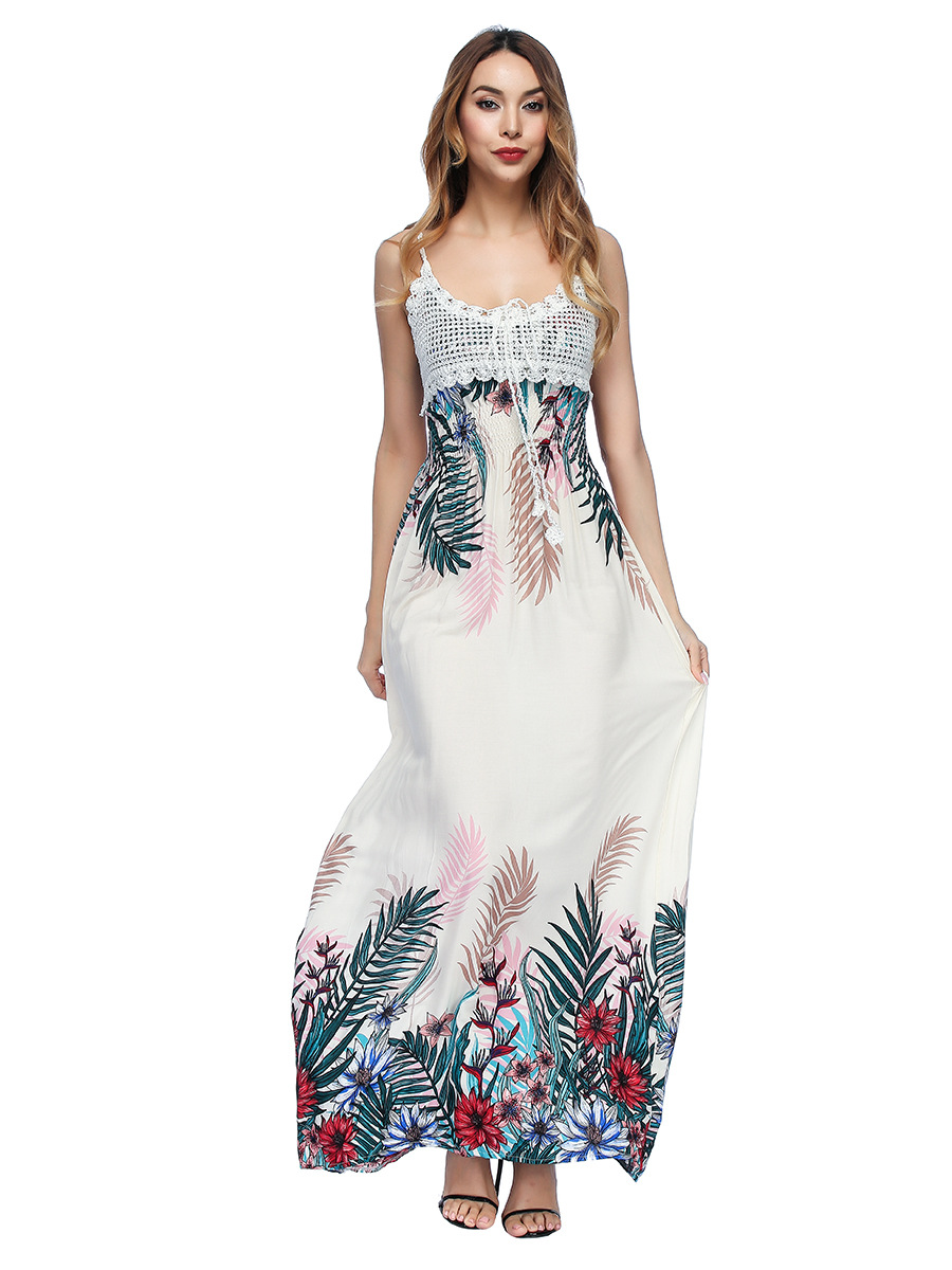 671040e58cc FASHION NEW WOMAN SUMMERDRESS BEACH PRINT SPAGHETTI STRAP FEMALE DRESSES  LACE EMPIRE GIRLS CAUSAL STREETWEAR LONG