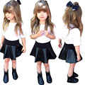 baby girls clothes set 2016Long Sleeve T-shirt Tops+Leather Skirt clothing set girls boutique clothing baby girl kinder good