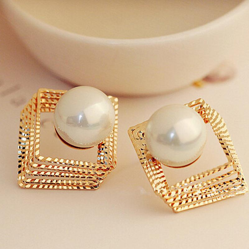Layers Hollow Golden Silver Square Big Simulated Pearl Stud Earrings For Women Piercing Jewelry