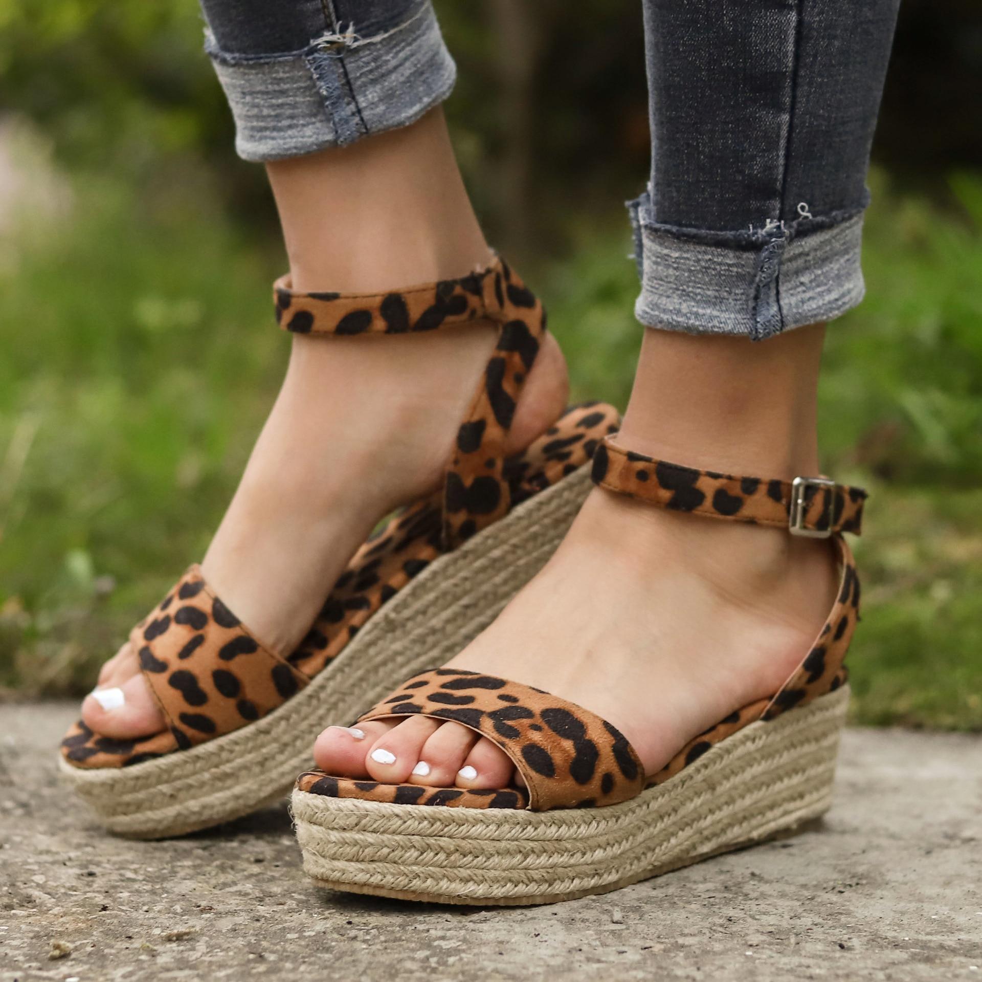 Platform Sandals Wedges-Shoes Peep-Toe Fashion Woman Casual 569