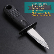 Wholesale shells opener Oyster knife scallops opener Scallop knife Snail device Multi use pry knives Plastic black handle