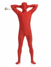 2017 Adult Full Body Spandex Lycra Zentai Suit Orange Tight Suits Pure Color Halloween Party Unitard