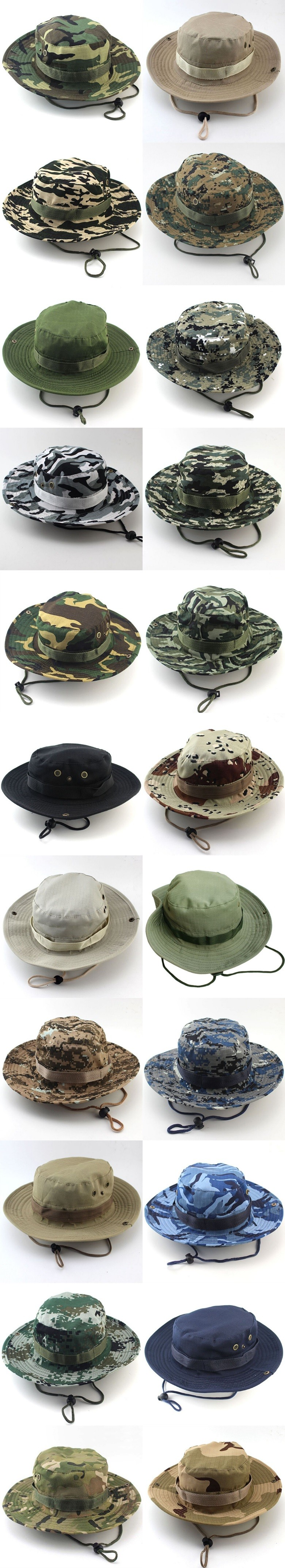 Classic US Combat Army Style Gi Boonie Bush Jungle Hat Sun Fishing Cap Men Women's Cotton Ripstop Camouflage Military Bucket Hat 8