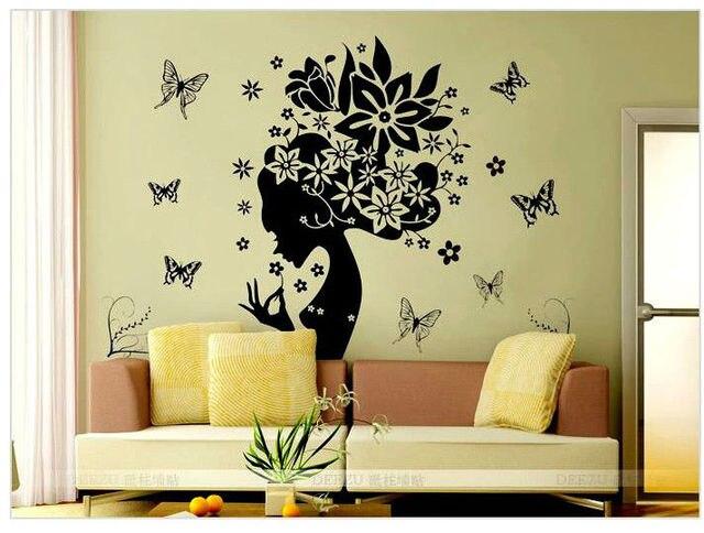 butterfly flower home decor wall sticker princess love kitchen ...