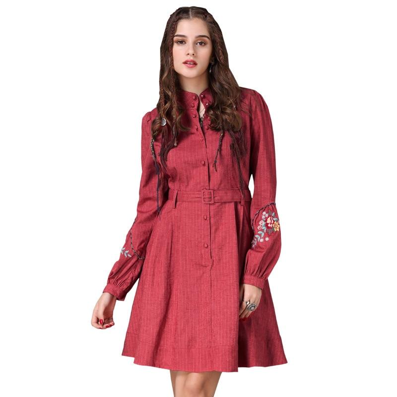 Embroidered Women Dresses 2018 Elegant Long Sleeve Wrap Plus Floral Size Dress Vintage Retro Red Ladies Runway Boho Clothing