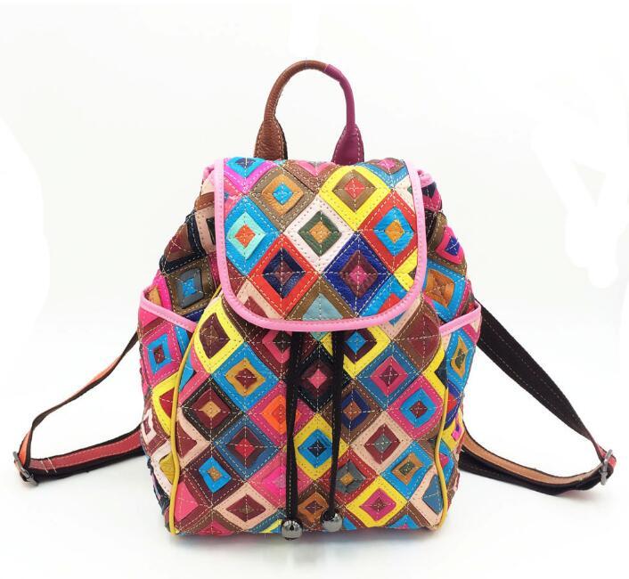 2018 sac à dos en cuir véritable coloré femmes sac à dos en cuir Vintage Patchwork sacs noir blanc fille sac à dos Mochila