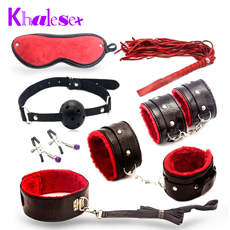 Khalesex 7 Pcs/Set Bondage Kit Fetish Restraint Adult Sex Toys for Couples Games Handcuff Gag Ball Nipple Clamps Whip Erotic Toy