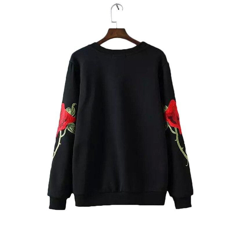 Женщины Вышивка цветочные черный Белый кофты с длинным рукавом элегантный теплая зима пуловеры старинные О-Образным Вырезом повседневная топы SW901