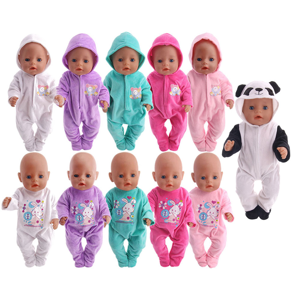 Doll Clothes Cute Rabbit Pajamas Panda Nightgowns Fit 18 Inch American Doll&43 Cm Baby Doll Generation Christmas Girl`S Toy