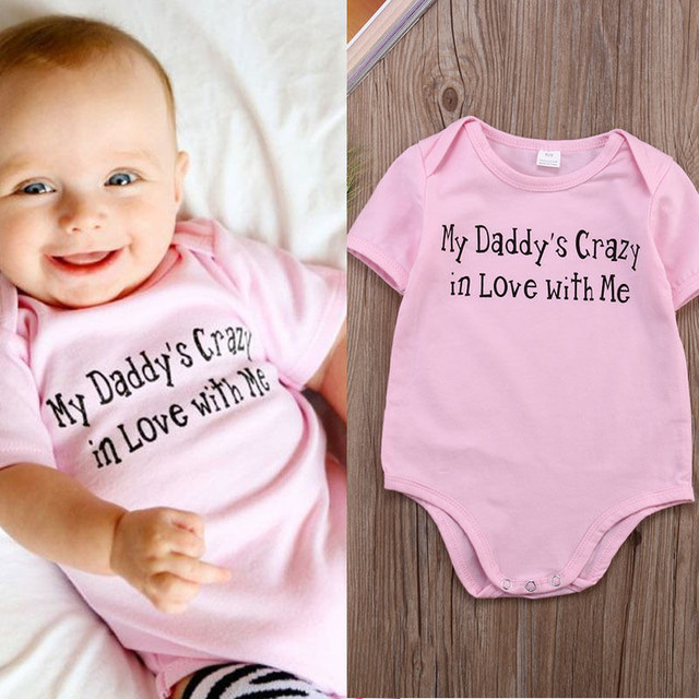 c69d28c65 2016 HOT Baby Bodysuits Girls cartoon Short Sleeve Baby 100% Cotton Daddy  Love Bodysuits Newborn Baby Clothes jumpsuits Clothing