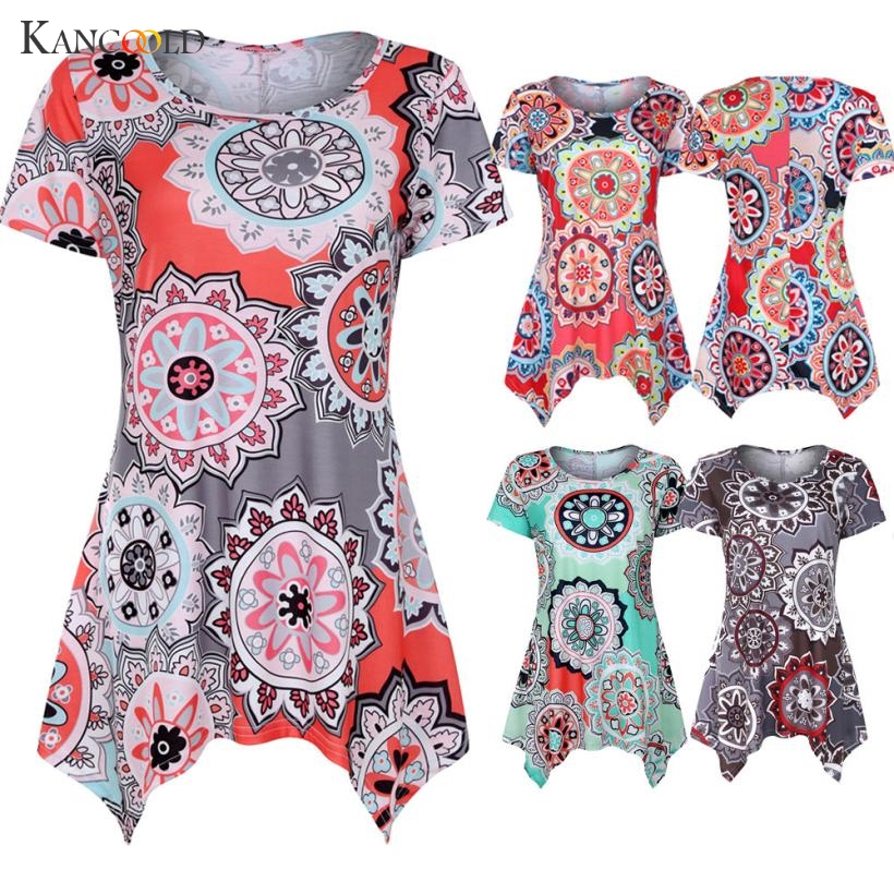 KANCOOLD womens tank tops crop top Short female Sleeve Swing Tunic Summer Floral Flare Tee Top Blouse Shirt casual APR9