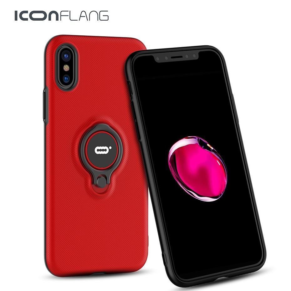 Telefon Fall Für iphone X 10 Schutzhülle Cases Für iphone X Luxus Volle Stoßfest Rüstung Fall Mit Magnet Ring halter X