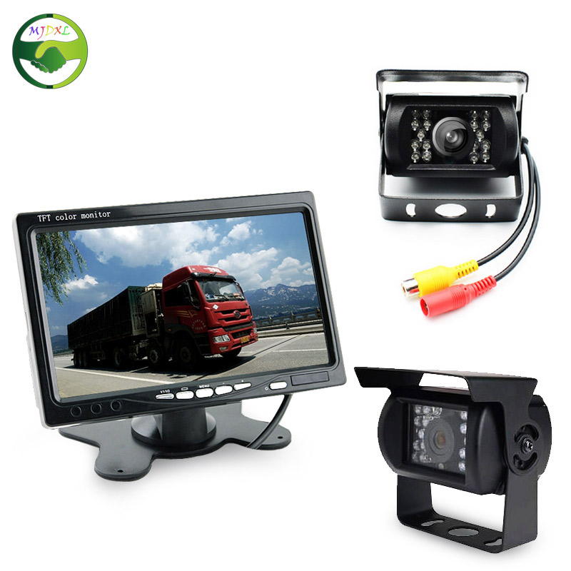 ФОТО DC 12-36V Bus Truck Parking Monitor With 2 Camera , HD 7 Inch LCD Car Monitor + Rear View Camera + Front View Camera