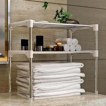 Estante de almacenamiento tipo piso de 2 niveles, estante de cocina, organizador de baño, organizador de cocina, productos para el hogar, estantes W0195