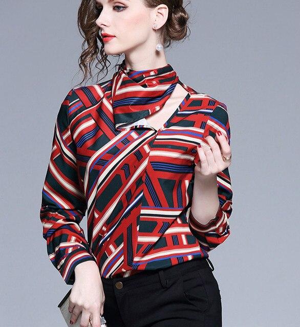 d8dad08a2b78e 2018 Autumn winter long sleeve print shirt women elegant office satin  blouse silk top satin shirts women work wear OL shirts